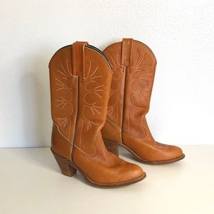 Frye Camel Leather Cowboy Boots Size 7.5